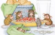 美味意大利面 可爱小老鼠插画壁纸 鼠鼠一家温馨小老鼠插画壁纸 绘画壁纸