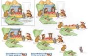 美味意大利面 可爱小老鼠插画原画 鼠鼠一家温馨小老鼠插画壁纸 绘画壁纸
