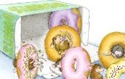 美味甜甜圈 可爱小老鼠插画壁纸 鼠鼠一家温馨小老鼠插画壁纸 绘画壁纸