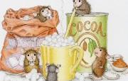 美味可可粉 可爱小老鼠插画壁纸 鼠鼠一家温馨小老鼠插画壁纸 绘画壁纸