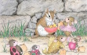 万圣节的可爱小老鼠插画壁纸 鼠鼠一家温馨小老鼠插画壁纸 绘画壁纸