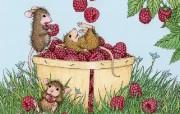 玩耍 可爱小老鼠插画壁纸 鼠鼠一家温馨小老鼠插画壁纸 绘画壁纸