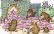 针线活 可爱小老鼠插画壁纸 鼠鼠一家温馨小老鼠插画壁纸 绘画壁纸