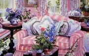 粉红梦幻的客厅 Susan Rios 绘画作品 Susan Rios 绘画浪漫花园与温馨的家 绘画壁纸