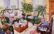 精致温馨的客厅 Susan Rios 绘画作品 Susan Rios 绘画浪漫花园与温馨的家 绘画壁纸