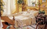 温馨的睡房 Susan Rios 绘画作品 Susan Rios 绘画浪漫花园与温馨的家 绘画壁纸