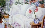 Susan Rios Canvas Painting The Guest House Susan Rios 绘画浪漫花园与温馨的家 绘画壁纸