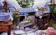 Susan Rios Canvas Painting Retreat Susan Rios 绘画浪漫花园与温馨的家 绘画壁纸