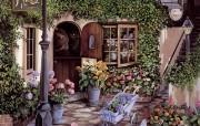 温馨花店 Susan Rios 浪漫油画 Susan Rios 绘画浪漫花园与温馨的家 绘画壁纸