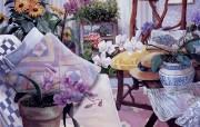 花园般的房间 Susan Rios 浪漫油画 Susan Rios 绘画浪漫花园与温馨的家 绘画壁纸