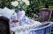 花园里的午后时光 Susan Rios 浪漫油画 Susan Rios 绘画浪漫花园与温馨的家 绘画壁纸