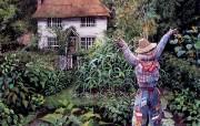 后院的稻草人 Susan Rios 浪漫油画 Susan Rios 绘画浪漫花园与温馨的家 绘画壁纸