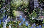Susan Rios Canvas Painting Afternoon Walk Susan Rios 绘画浪漫花园与温馨的家 绘画壁纸