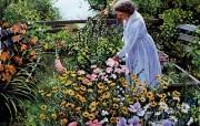 Susan Rios Canvas Painting The Hillside Garden Susan Rios 绘画浪漫花园与温馨的家 绘画壁纸