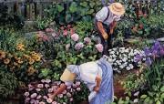 Susan Rios Canvas Painting Peaceful Hours Susan Rios 绘画浪漫花园与温馨的家 绘画壁纸