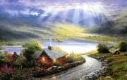 Thomas Kinkade 温馨田园风景油画壁纸 壁纸19 Thomas Kin 绘画壁纸