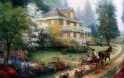 Thomas Kinkade 温馨田园风景油画壁纸 壁纸50 Thomas Kin 绘画壁纸