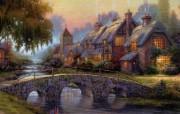 Thomas Kinkade 温馨田园风景油画壁纸 壁纸29 Thomas Kin 绘画壁纸