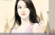 手绘美女壁纸 爱情小说美女手绘 甜美手绘美女插画壁纸第十七辑 绘画壁纸