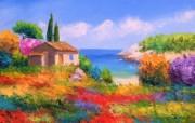 彩色田园 法国画家Jean Marc Janiaczyk 油画作品 童话法国田园法国画家Jean Marc Janiaczyk 油画壁纸 绘画壁纸