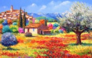 梦幻彩色田园 法国风景油画壁纸 童话法国田园法国画家Jean Marc Janiaczyk 油画壁纸 绘画壁纸