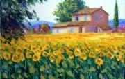 向日葵田园 法国画家Jean Marc Janiaczyk 油画作品 童话法国田园法国画家Jean Marc Janiaczyk 油画壁纸 绘画壁纸