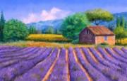 薰衣草田园 法国风景油画壁纸 童话法国田园法国画家Jean Marc Janiaczyk 油画壁纸 绘画壁纸