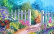 Jardin fleuri canvas painting by Jean Marc Janiaczyk 童话法国田园法国画家Jean Marc Janiaczyk 油画壁纸 绘画壁纸
