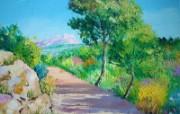 Le chemin de la Sainte Victoire Art painting by Jean Marc Janiaczyk 童话法国田园法国画家Jean Marc Janiaczyk 油画壁纸 绘画壁纸