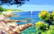 La voile blanche canvas painting by Jean Marc Janiaczyk 童话法国田园法国画家Jean Marc Janiaczyk 油画壁纸 绘画壁纸