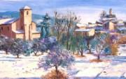 Lhiver a Lourmarin canvas painting by Jean Marc Janiaczyk 童话法国田园法国画家Jean Marc Janiaczyk 油画壁纸 绘画壁纸