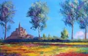 Le mont Saint Michel Art painting by Jean Marc Janiaczyk 童话法国田园法国画家Jean Marc Janiaczyk 油画壁纸 绘画壁纸