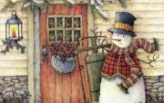 Lisa Blowers 门口的雪人 温馨古典手绘壁纸 温馨手绘《Welcome Home 》 绘画壁纸