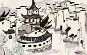 吴冠中江南水乡绘画艺术 壁纸 壁纸9 吴冠中江南水乡绘画艺 绘画壁纸