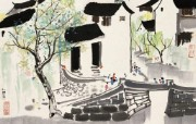 吴冠中江南水乡绘画艺术 壁纸 壁纸12 吴冠中江南水乡绘画艺 绘画壁纸