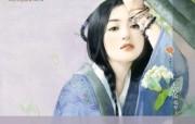 手绘古代美女插画壁纸 言情小说封面手绘古代美女壁纸 绘画壁纸