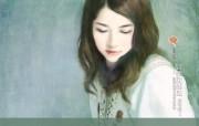言情小说手绘美女壁纸 第十六辑 甜美女孩 言情小说美女插画 言情小说手绘美女壁纸十六 绘画壁纸