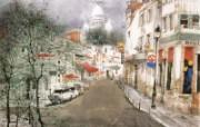 巴黎小街 异域情调山水画 异国风光刘懋善山水画壁纸 绘画壁纸