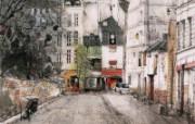 巴黎小景 恬静的欧陆风光山水画 异国风光刘懋善山水画壁纸 绘画壁纸