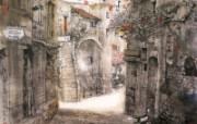 法国南部小镇风光 异域情调山水画 异国风光刘懋善山水画壁纸 绘画壁纸
