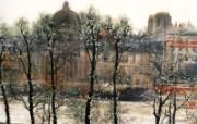 罗浮宫窗外的风景 异域情调山水画 异国风光刘懋善山水画壁纸 绘画壁纸