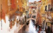 威尼斯风光 意大利 异国风光山水画 异国风光刘懋善山水画壁纸 绘画壁纸