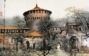 斯福尔札城堡 意大利 异国情调山水画 异国风光刘懋善山水画壁纸 绘画壁纸