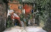 托斯卡尼的旧宅院 意大利 异国情调山水画 异国风光刘懋善山水画壁纸 绘画壁纸