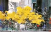 纽约之秋 异国风光山水画 异国风光刘懋善山水画壁纸 绘画壁纸