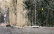 曼哈顿大教堂 异国风光山水画 异国风光刘懋善山水画壁纸 绘画壁纸