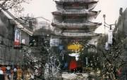 京都小巷 日本 刘懋善山水画壁纸 异国风光刘懋善山水画壁纸 绘画壁纸