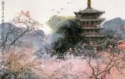 京都樱花时节 日本 刘懋善山水画壁纸 异国风光刘懋善山水画壁纸 绘画壁纸