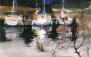 码头帆影 美国 异国风光山水画壁纸 异国风光刘懋善山水画壁纸 绘画壁纸
