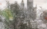 夏宫公园的深秋 俄罗斯 异国风光山水画 异国风光刘懋善山水画壁纸 绘画壁纸